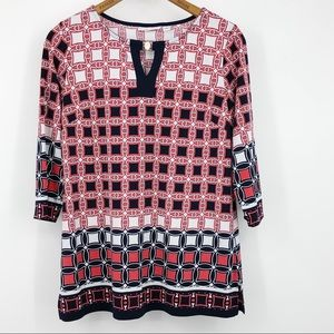 Susan Graver Printed Tunic Top Keyhole Blue Red S